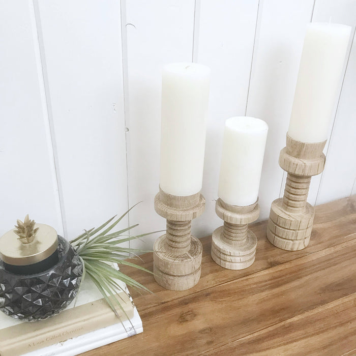 WOOD Pillar Candle Holders Handcarved Repurposed Oak Home Decor