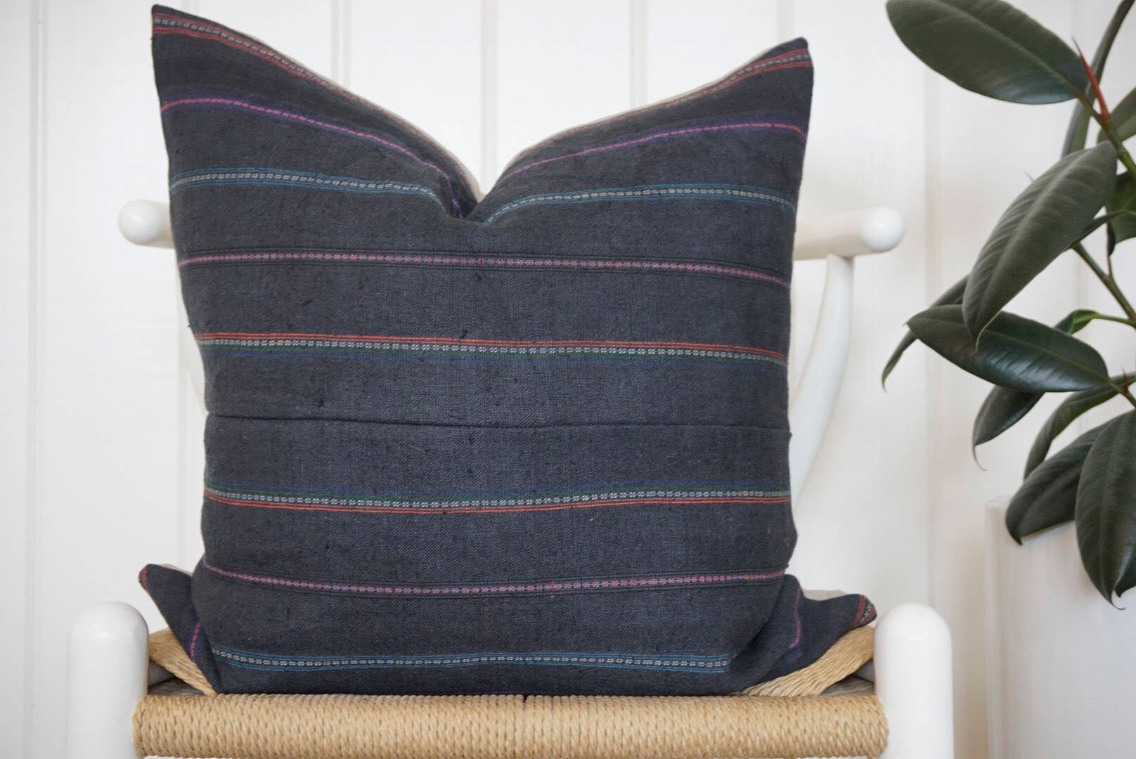 18X18 Blue Hmong Pillow Cover / Striped Navy Pillow / Coastal Farmhouse / Thailand Hemp Hmong