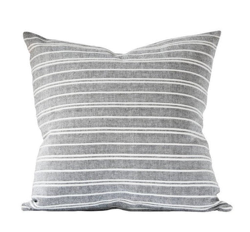 Grey Striped Designer Pillow Cover Embroidered Hand Woven White Stripes Various sizes available