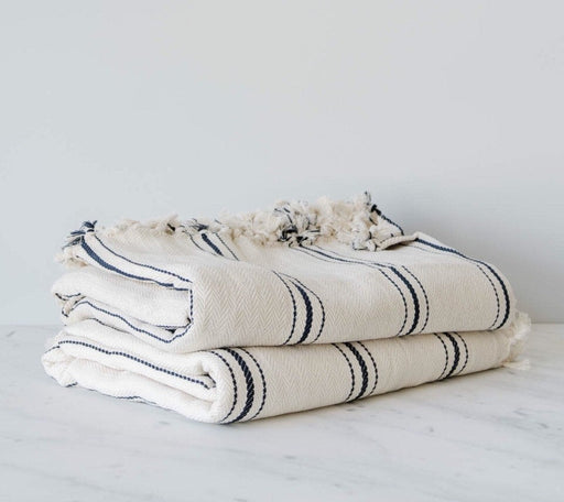 Turkish Stripe Throw Blanket 75x98 Cotton Designer King size
