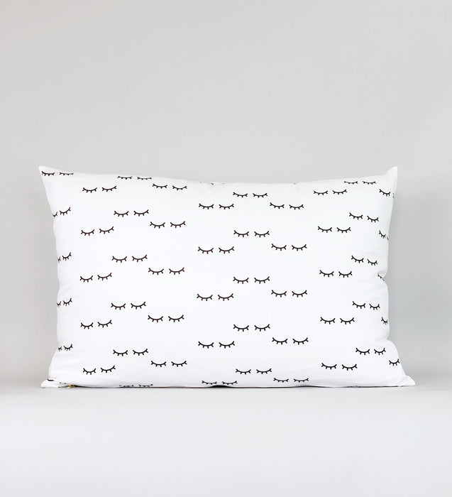 18x26 Kids Pillow Case Bedroom Standard Size Black White Eyelash Pattern Satin Percale