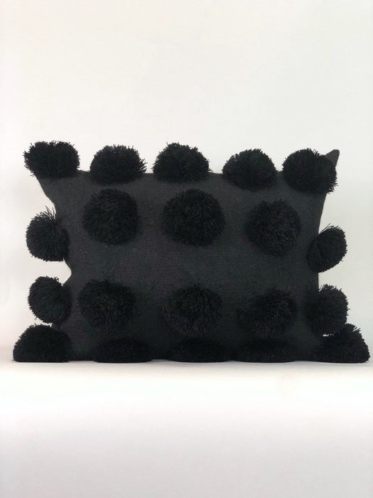 Black Mexican Pom Pom Pillow Case Handwoven Designer