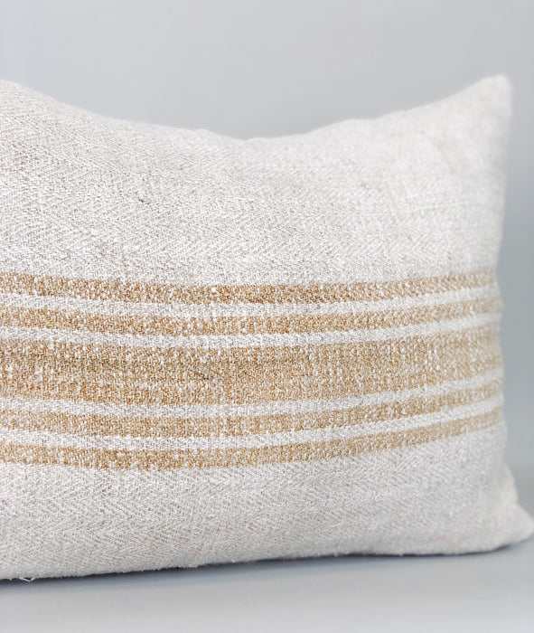 16x20 Caramel Stripe Pillow Case Lumbar Grainsack Vintage