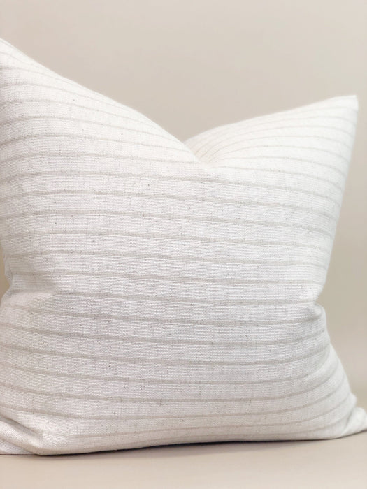 Striped Handwoven Pillow Case Thailand Textile Designer Natural off white cotton