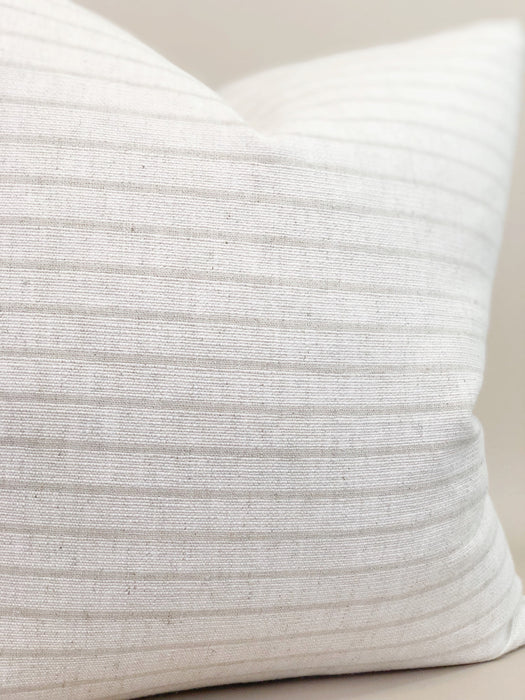 Striped White Pillow Case Handwoven Thailand Textile Designer Neutral
