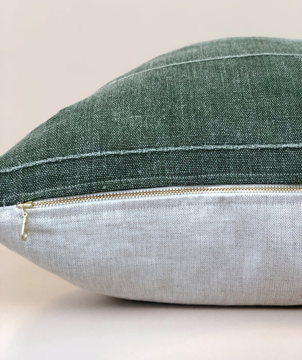 Mudcloth Designer Pillow Case Green Linen Fabric Rose Tarlow