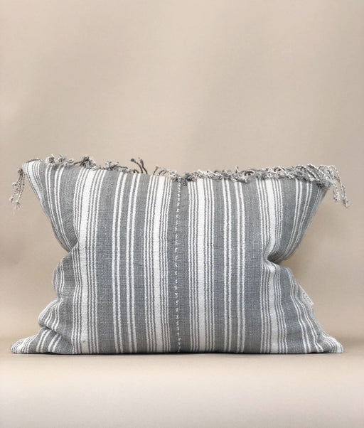 18x22 Grey Fringe Pillow Case Striped Vintage Thailand Textile Handwoven