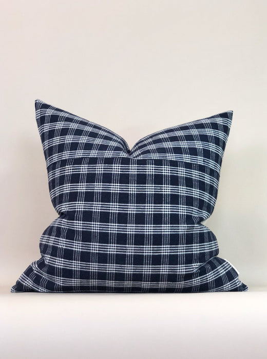 24x24 Hemp Plaid Pillow Case Vintage Chinese Textile Euro Size Bedroom Designer
