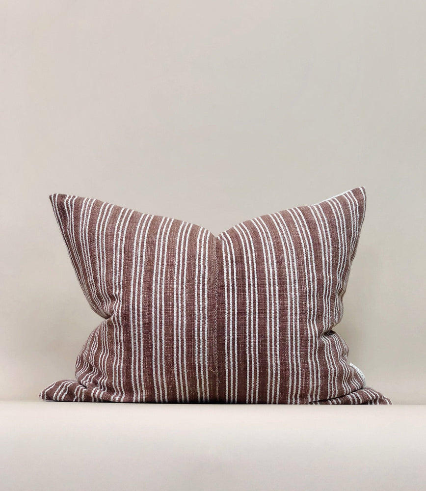 18x22 Thailand Stripe Pillow Case Terracotta Handwoven Cotton Designer Textile