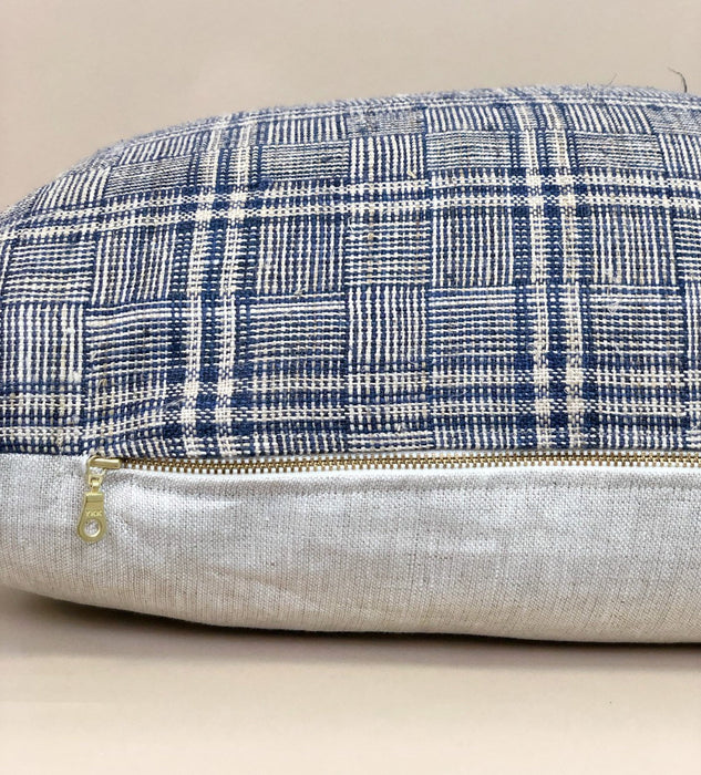 14x24 Hemp Plaid Pillow Case Vintage Chinese Designer Farmhouse