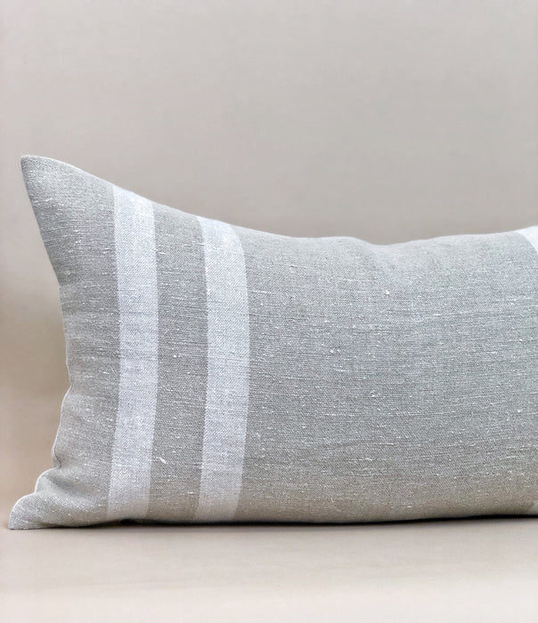 13x24 Belgian Linen Pillow Case Designer Thick stripe Woven Designer Farmhouse