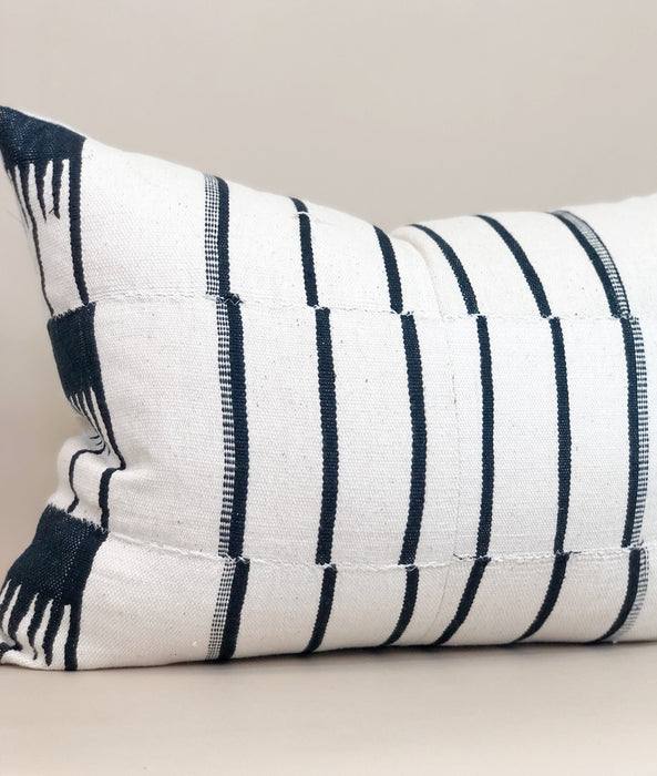 14x19 Vintage White Pillow Case Mudcloth Handwoven African Textile