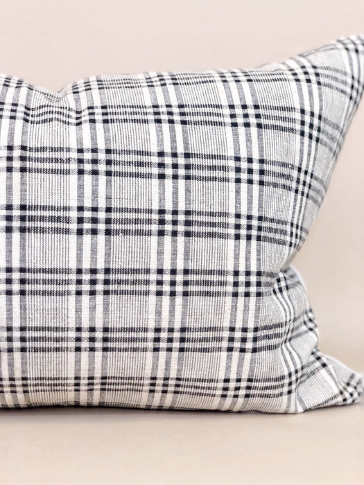 16x24 Plaid Hemp Pillow Case Vintage Chinese Textile Designer Farmhouse