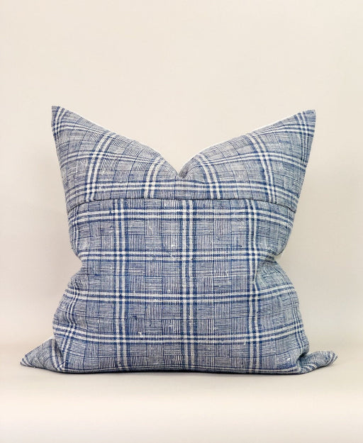 22x22 Plaid Hemp Pillow Case Vintage Chinese Textile Designer Faded
