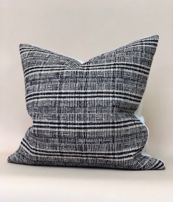 18x18 Chinese Hemp Plaid Pillow Case Vintage Woven Designer Textile