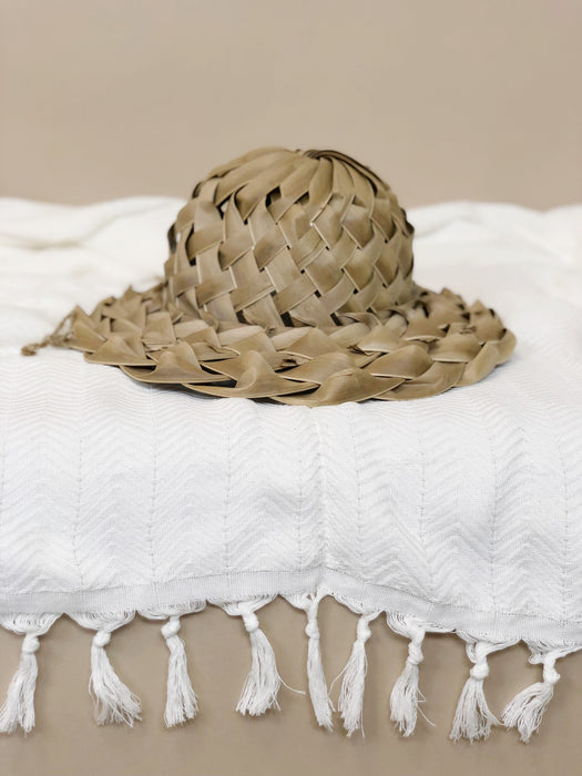 Handwoven Palm Hat Vintage Bohème Decor Wall display Art