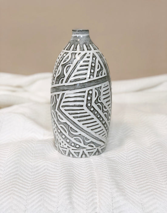 Ceramic Flower Vase Handmade Table decor Grey White Pottery