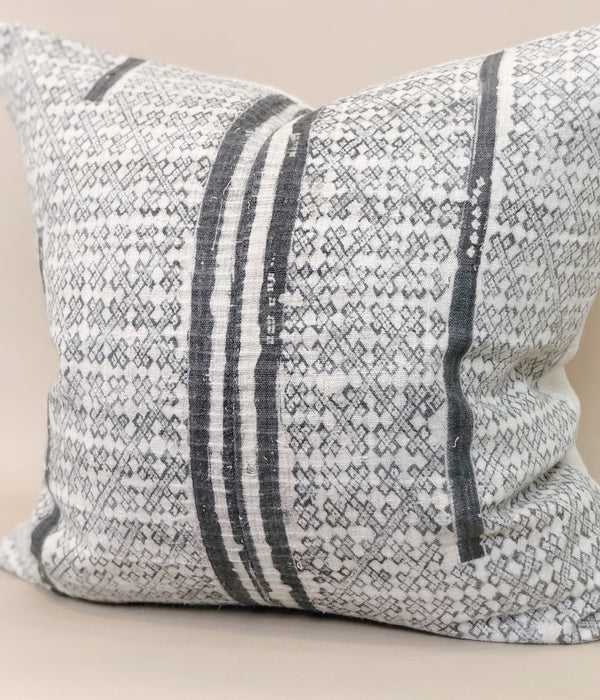 20x20 Grey Batik Pillow Cover Handwoven Hemp Striped Vintage textile