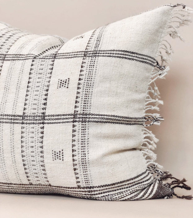 22x22 Indian Fringe Pillow Case Handwoven Wool Textile from India