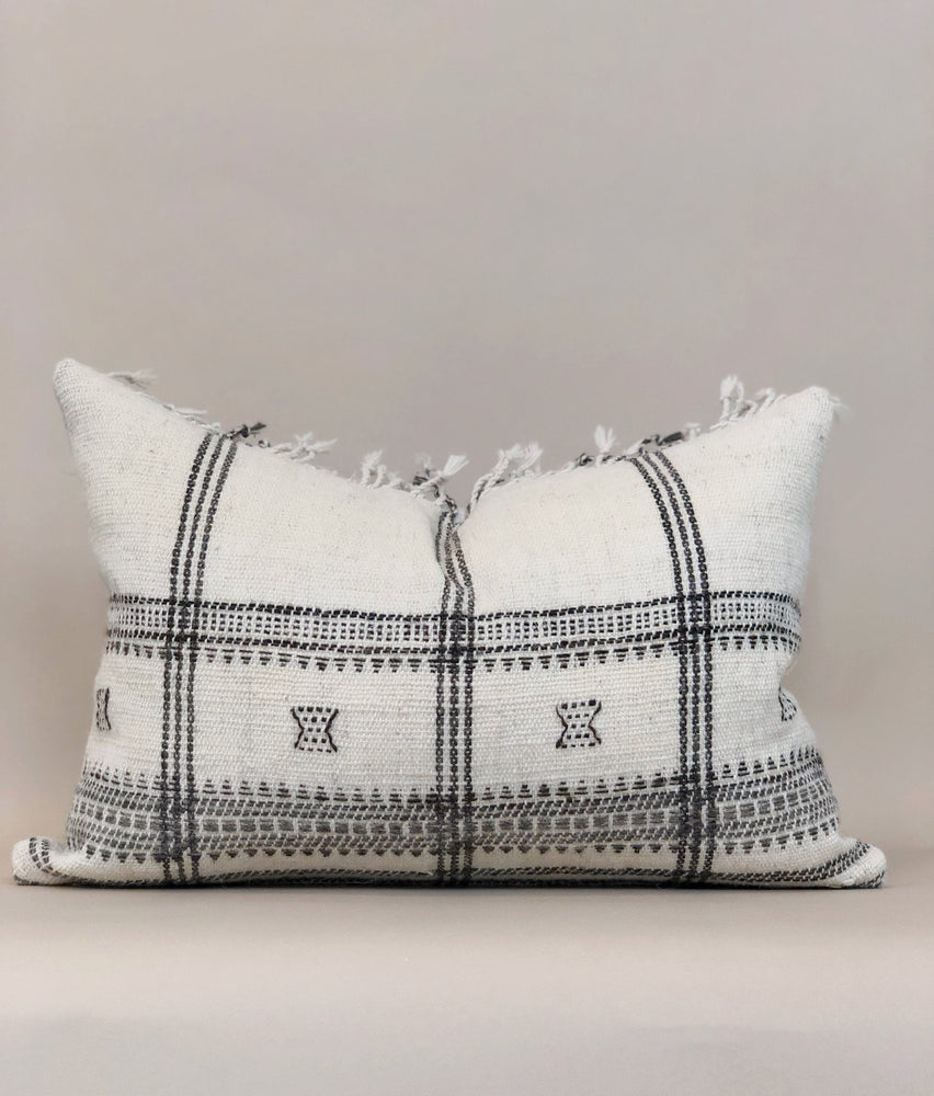 14x20 Fringe Wool Pillow Case Lumbar Handwoven Embroidered Indian Textile