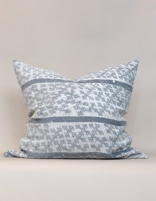 20x22 Grey Batik Hemp Pillow Case Vintage Handwoven Chinese Textile Designer