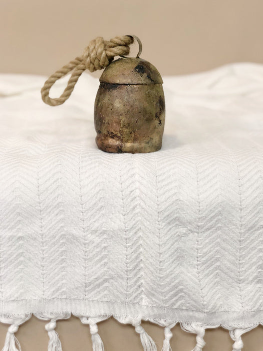 Vintage brass cow bell with rope bookshelf decor designer