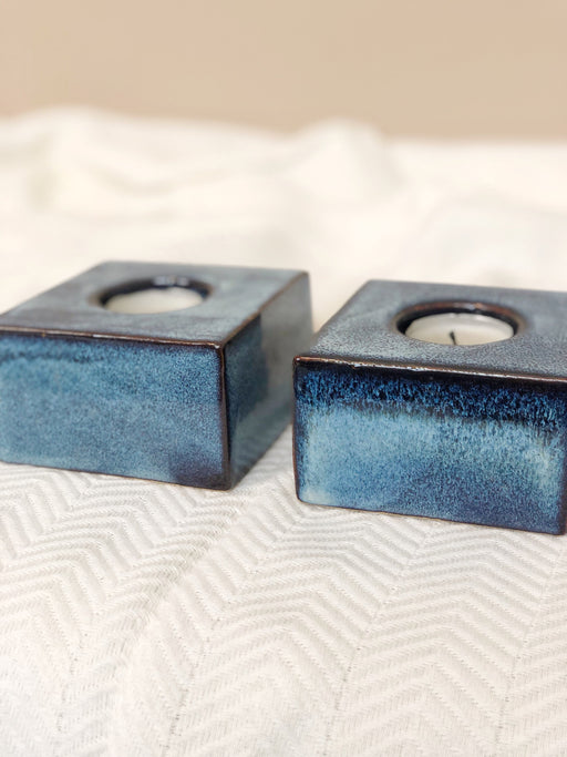 Pair of ceramic tea light holders mid century modern table top decor