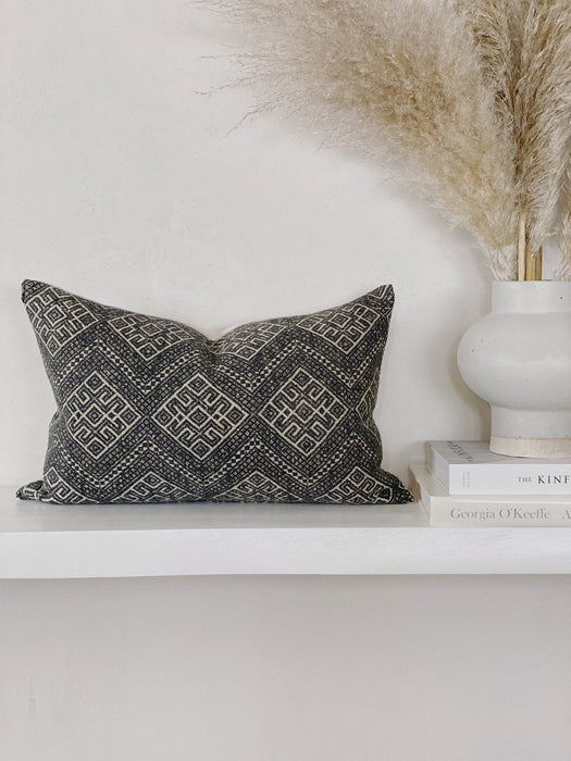 12x20 Grey Vintage Lumbar Pillow Case Wedding Blanket Chinese Textile