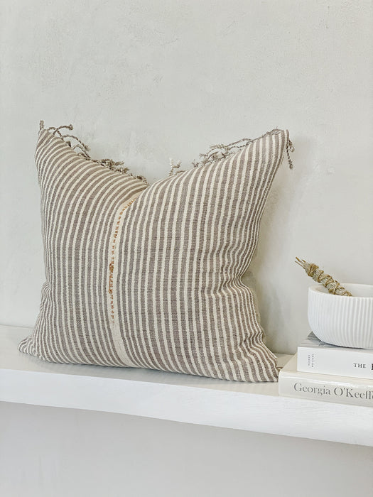 18x19 Tassel Stripe Handwoven Pillow Case Thailand Designer Textile Neutral