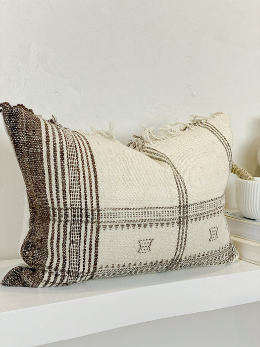 14x18 Fringe Wool Stripe Lumbar Pillow Case Neutral Designer textile from India