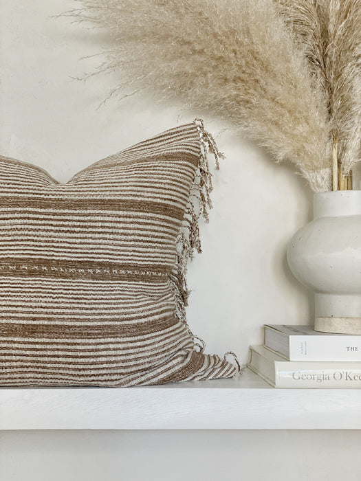 20x20 Thailand Stripe Fringe Pillow Case Handwoven Designer Neutral Decor
