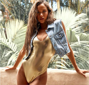 Metallic Scoop Neck Brazilian One Piece