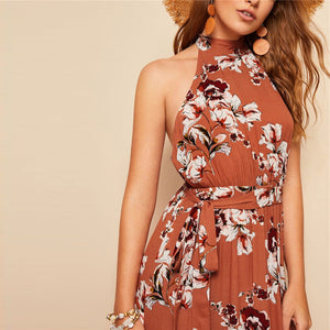 Bohemian Rust Open Back Dress