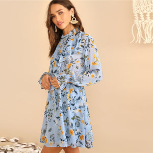 Boho Blue Botanical Dress
