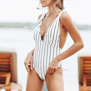 Elegance Stripe One-piece Swimsuit Deep V