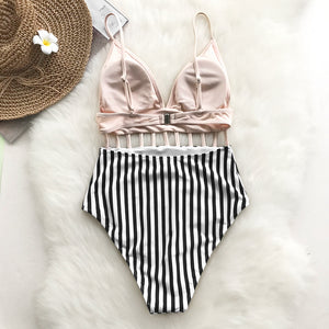 Pink V-neck Strappy One-piece Swimsuit