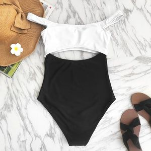 White And Black Dropped Shoulder One-piece