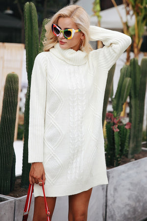 Turtleneck high split knit pullover