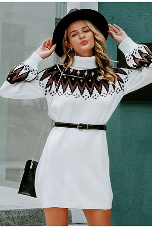 Geometric knitted turtle neck pullover sweater dress