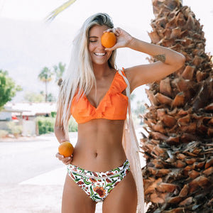 Orange Ruffle Bikini Set