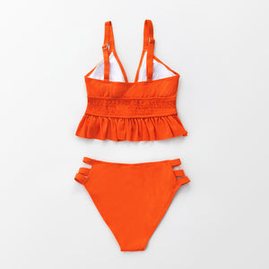 Orange Smocked Ruffled Bikini