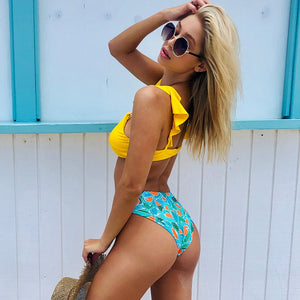 Yellow and Clementine Print Bikini