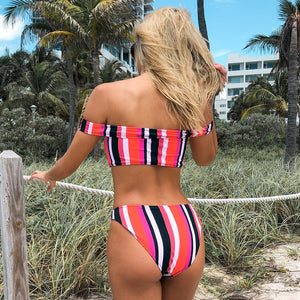 Stripe Off-The-Shoulder Bikini Set