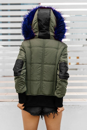 Hooded padded parka winter jacket