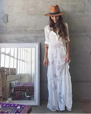 Slit Side Lace White Chiffon Maxi Dress
