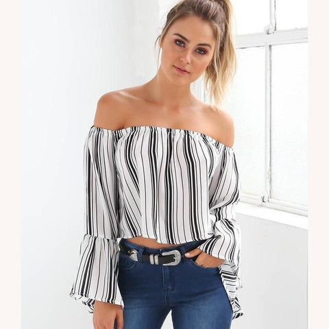 Edgy Striped Crop Top