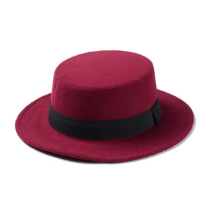 Wool Boater Flat Top Hat
