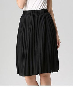 Simple Pleated Knee-length Skirt