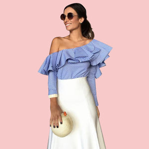 Blue-Ruffled-One-Shoulder-Long-Sleeve-Blouse