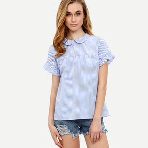 Blue Striped Vintage Blouses